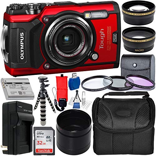 Olympus Tough TG-5 Digital Camera (Red) with Deluxe Accessory Bundle - Includes: SanDisk Ultra 32GB SDHC Memory Card + Spare Battery + Battery Charger + Flexible Gripster Tripod + Adapter Tube + More 4x Digital Zoom 20 Lcd