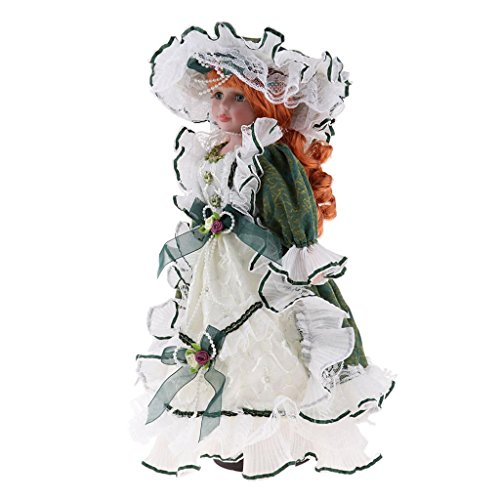 SM SunniMix 16inch Porcelain Doll Collectible Miniatures Beautiful, Victorian Doll Wearing Dress Gown with Ruffles at The Neckline, and Hat with Flower on Top