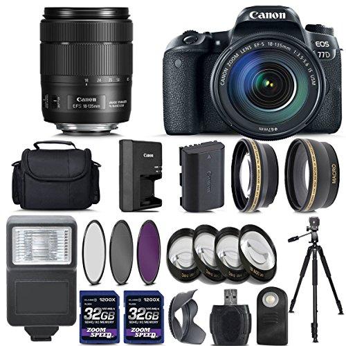 Canon EOS 77D Digital SLR Camera + 18-135mm IS USM Lens + 2 X 32GB + Telephoto + Wide-Angle Lens + Filters + Flash + Case + Tripod - International Version (No Warranty) (18-135mm IS USM)