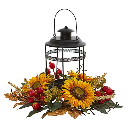 - Nearly Natural 4279 Sunflower Berry Artificial Candelabrum Silk Arrangements, Yellow