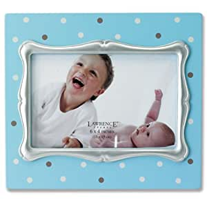 Lawrence Frames 4 by 6-Inch Blue Polka Dot Wood Picture Frame with Silver Inner Frame