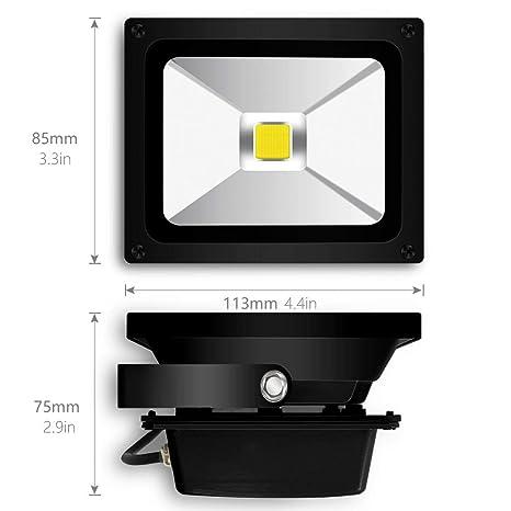 Auralum® Foco LED 10W Proyector de Luz Lámpara IP65 Impermeable Iluminación Exterior del Jardín al Aire Libre, Patio, Terraza. Bajo Consumo de Energía y ...