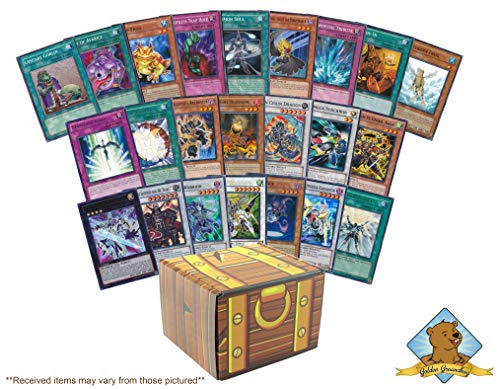 200 Yugioh Cards! Featuring A Mix of 50 Rares and Holos! Includes Golden Groundhog Treasure Chest Storage Box! (Yugioh Blue Eyes White Dragon Deck Build)
