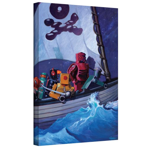 ArtWall Eric Joyner 'Rob Pirates' Gallery-Wrapped Canvas Artwork, 18 24-Inch - Robot Canvas Art