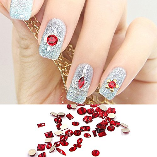 Red Big Size Nails Decoration And Designs Rhinestones For Nails Supply Acrylic Set 100Pcs A Lot Sindy