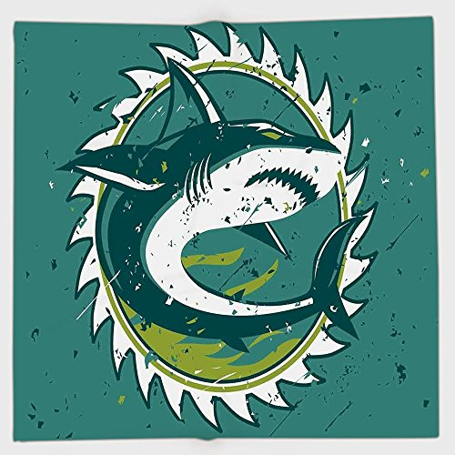 Polyester Bandana Headband Scarves Headwrap,Sea Animal Decor,Graphic of Shark Hunter in Dark Murky Colors Sharp Teeth Fish Marine Nautical,Green,for Women Men