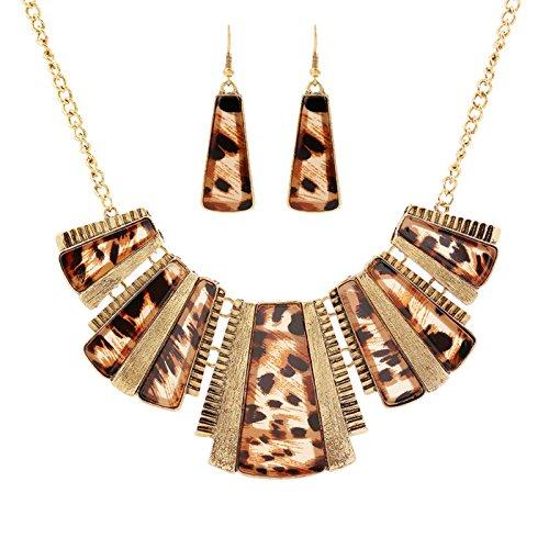KOREA-JIAEN Coat Chain and Earrings Set Trendy Bohemian Necklace Acrylic Leopard Print Tribe Statement Necklace and Earrings Sets for Women (Leopard Print)