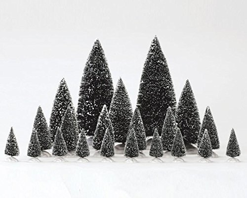 Lemax Christmas Village Assorted Frosted Pine Tree 21-Piece Set #34968 (Tree Pine Village)