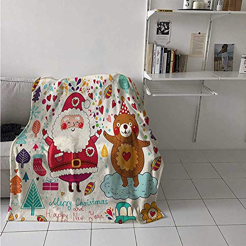 maisi Christmas Digital Printing Blanket Santa and Teddy Bear Vintage Christmas Season Ornaments Party Kids Nursery Theme Summer Quilt Comforter 62x60 Inch Multicolor