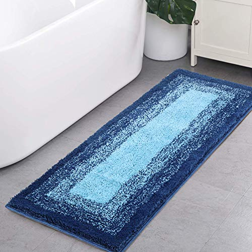 Bath Rug Runner, HAOCOO Banded Ombre Navy Bath Mat Non-Slip 18x47 inch Long Bathroom Rugs Water Absorbent Soft Luxury Microfiber Machine-Washable Bath Floor Rugs for Tub Shower