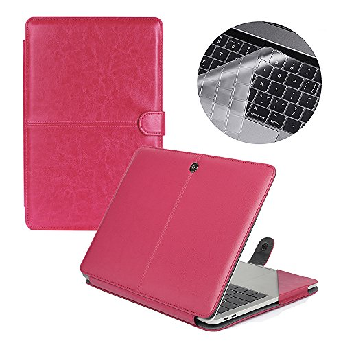 Se7enline Macbook Pro 15 2016 Case Premium Quality PU Leather Book Cover Folio Case for Macbook Pro 15 inch A1707 with Touch Bar and Touch ID 2016d with Silicone Keyboard Cover, Hot Pink