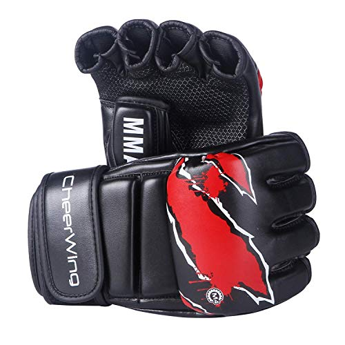 (Cheerwing Boxing Gloves MMA UFC Sparring Grappling Fight Punch Mitts Leather Training Gloves, Black)