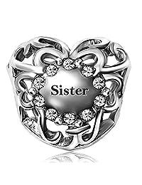 JMQJewelry Heart Sister Love Charm Birthstone Jan- Dec 12 Color Christmas Charms Bead Bracelets