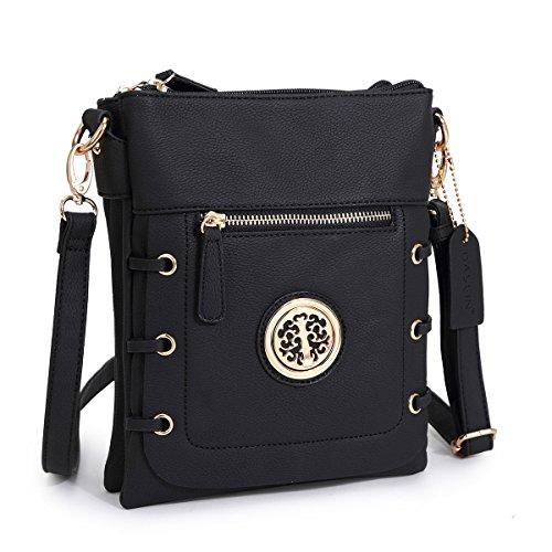 MKY Lady Small Crossbody Bag Purse Lightweight Multi-pocket Shoulder Bag Messenger Bag Faux Leather Black