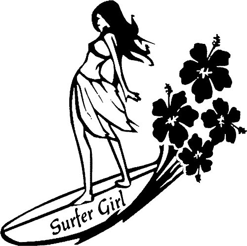 Surfer Girl Sticker Sexy Surf Woman Car Window Vinyl Decal Laptop flower Ocean (11