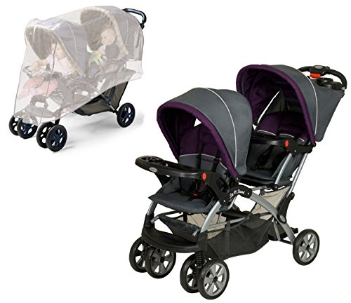 Baby Trend Sit N Stand Double Stroller with Stroller Netting, Elixer