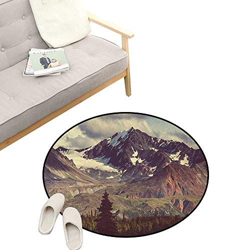 Alaska Mountains Round Area Rug Non-Slip ,Arctic Landscape Hiking Alaska Mountains Scenery in USA Wilderness, Living Room Bedroom Coffee Table 31