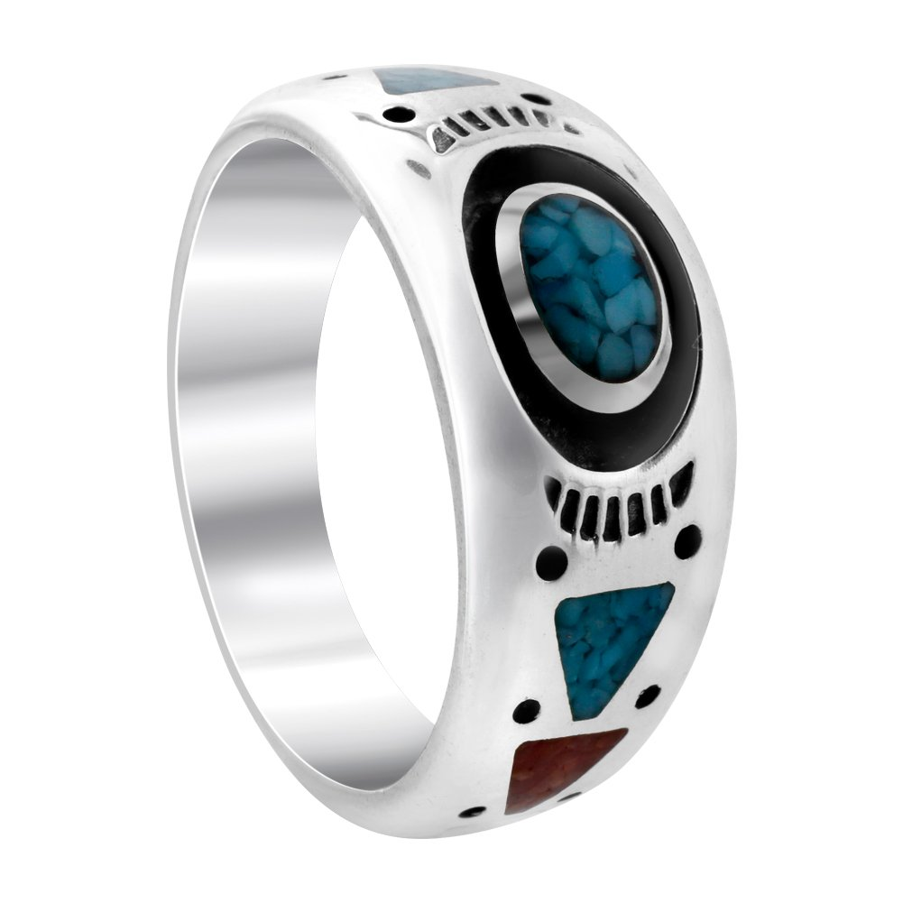 Gem Avenue 925 Sterling Silver Turquoise with Coral Gemstone Southwestern Style Band