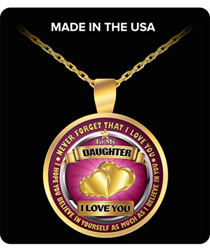 To My Dear Daughter Necklace from Mommy Father Present Idea - Gold Plated Pendant]()