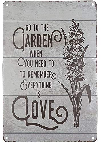 SKYC Go to The Garden Art Wall Plaque Vintage Metal Tin Signs Home Bar Shop Decorations Coffee Sign Wall Plaque Art Gift 8X12Inch