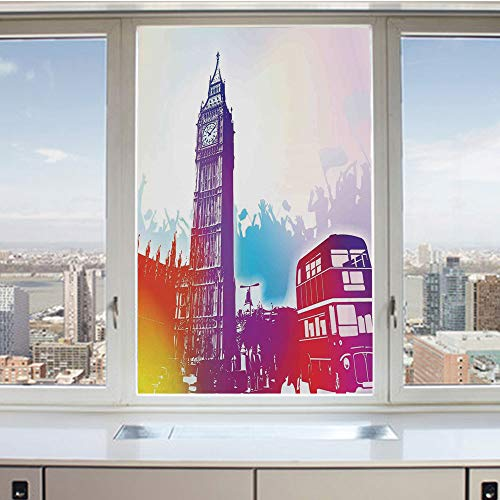 (3D Decorative Privacy Window Films,Historical Big Ben and Bus Great Bell Clock Tower UK Europe Street Landmark,No-Glue Self Static Cling Glass Film for Home Bedroom Bathroom Kitchen Office 24x36 Inch)