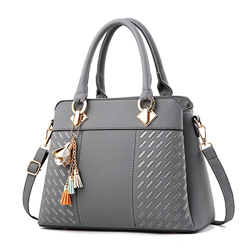 Womens Handbags and Purses Fashion Top Handle Satchel Tote PU Leather Shoulder Bags by lcfun