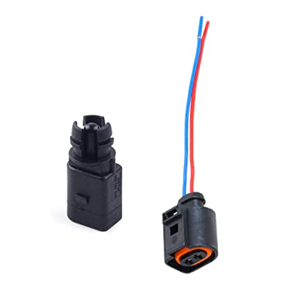 amazon com: beler ambient air temperature sensor & electrical 2 pin  connector plug wiring harness fit for audi vw: automotive