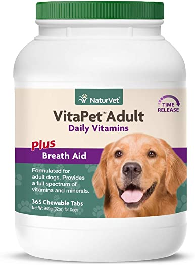 NaturVet VitaPet Adult Daily Vitamins for Dogs Plus Breath Aid Provides a Full Spectrum of Vitamins Minerals Enhanced with Omega-6 Fatty Acids