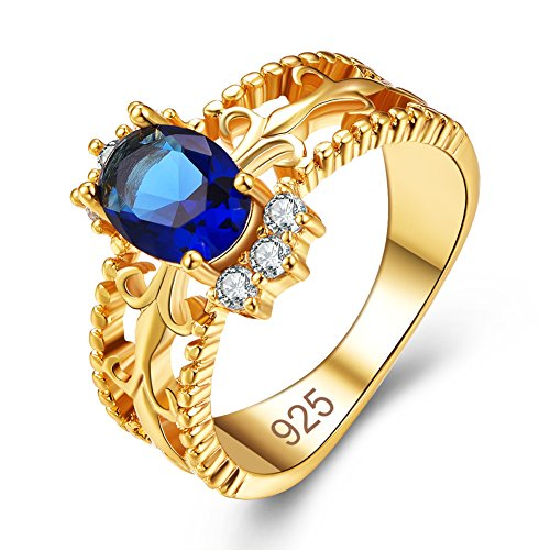 Emsione Created Sapphire Quartz 925 Sterling Silver Plated Pave Ring for Women ()