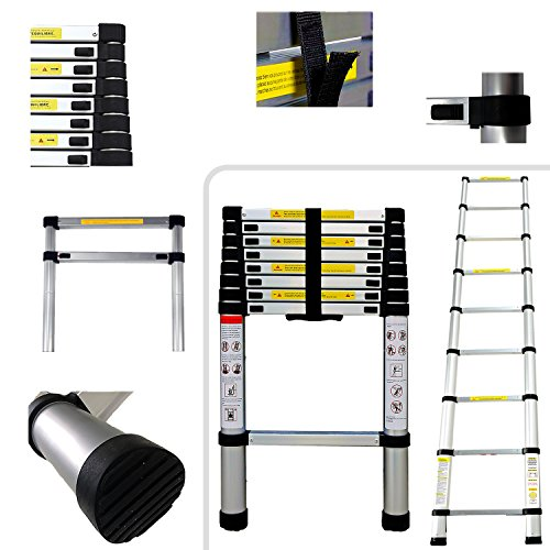 2.6 m 2.60 metres PRO – 9 Rungs Aluminium Telescopic Ladder – EN131 Standards