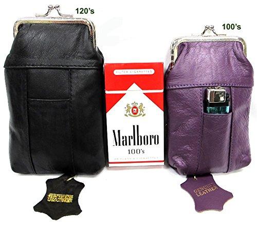 Price comparison product image 2pc Two Color Genuine Leather Cigarette Case Lighter Pocket PURPLE for 100s + BLACK for 120s