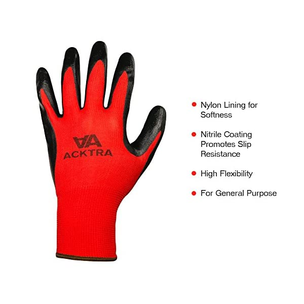 ACKTRA Nitrile Coated Nylon Safety WORK GLOVES 12 Pairs, Knit Wrist Cuff, Multipurpose, for Men & Women, WG003 Grey… 4