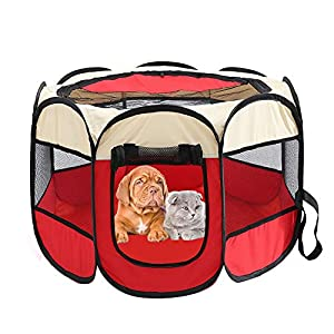 Recinto plegable para mascotas, tela Oxford, portátil, para perros, gatos, parque de juegos octogonal, impermeable…