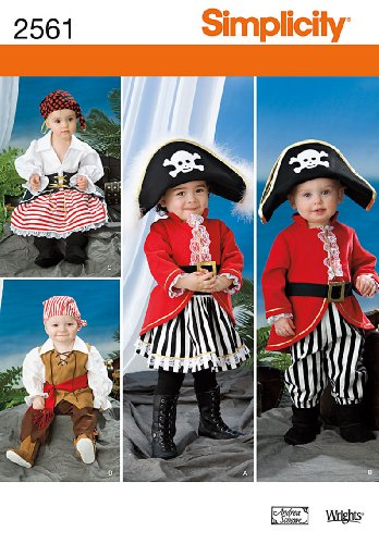 Simplicity Andrea Schewe Pattern 2561 Toddler Pirate Costumes Sizes 1/2-1-2-3-4