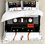 Ambesonne 70s Party Duvet Cover Set Queen Size, Broken Analogue Audio Cassette Music Playing Record Vintage Technology, Decorative 3 Piece Bedding Set with 2 Pillow Shams, Orange Caramel White