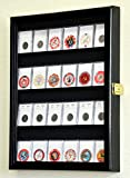 24 Collector NGC PCGS ICG Coin Slab Display Case Cabinet Holder Rack – Lockable, Black