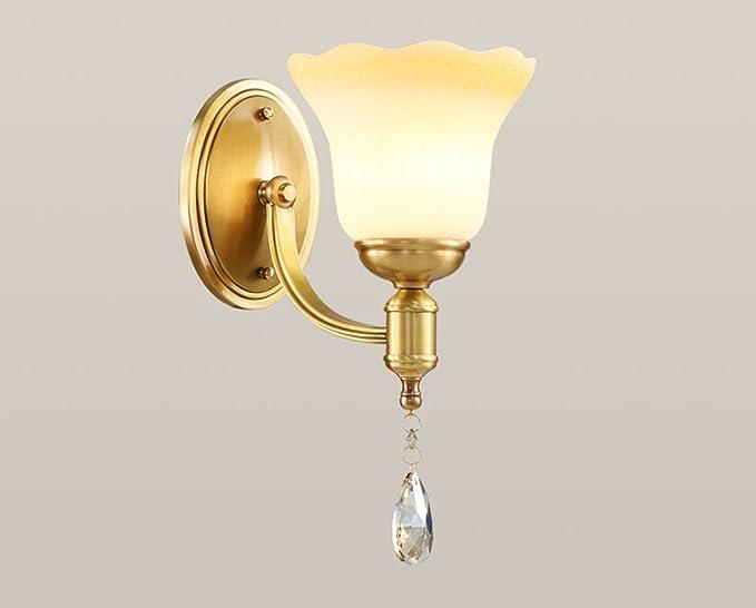 Home mall lampada da parete in rame applique in vetro paralume