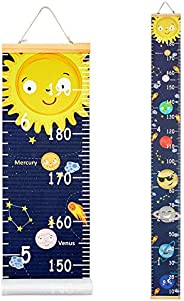 Beinou Baby Growth Chart Ruler for Kids Wood Frame Height Measure Chart 7.9'' x 79'' Canvas Ha