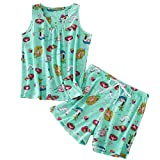 ENJOYNIGHT Women's Cute Sleeveless Print Tee and Shorts Sleepwear Tank Top Pajama Set (Medium, Colors)