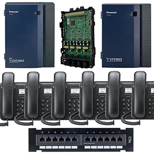 Panasonic KX-TDA50G Small Office Business Phone System 6pc KX-DT543 Black KX-TVA50 Voicemail KX-TDA5171 4 Port Expantion Card (Panasonic Pbx Phone compare prices)
