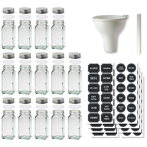 Glass Spice Jars Set of 14 Glass Jars 120 Chalkboard Labels with Stainless Steel Lids  ()