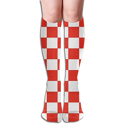 f8cc7ce73ab Amazon.com  Red And White Checker Print Knee High Socks Unisex Polyester  Cotton 50 CM Full Long Stockings  Clothing