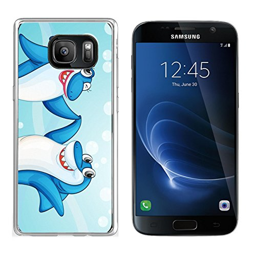 Liili Samsung Galaxy S7 Clear case Soft TPU Rubber Silicone Bumper Snap Cases IMAGE ID: 14058584 illustration of two dancing whale fishes in water