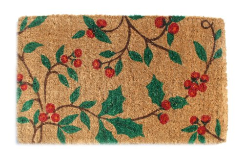 Imports Decor Printed Coir Doormat, Holly Princes, 18-Inch by 30-Inch (Door Christmas Coir Mat)