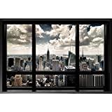 FRAMED New York City Window Poster Print - 36x24 Made in USA Manhattan NYC