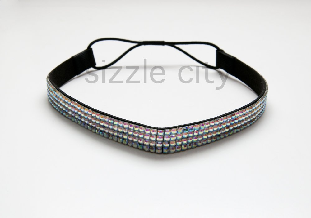 Thick Colored Custom Patterned Bling Rhinestone Elastic Stretch Headbands     Elastic Stretch Rhinestone Hair Bands 02be78a4e25