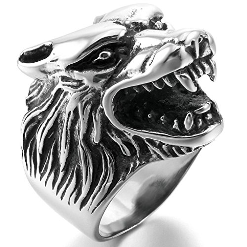 Epinki,Fashion Jewelry Men's Stainless Steel Ringss Silver Black Wolf Head Gothic Biker Size - 2 Shipping Day What Mean Free Does