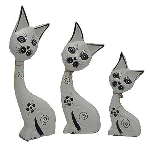 LM-Distribution - Set de 3 gatos en madera modelo - blanco flores negras: Amazon.es: Hogar