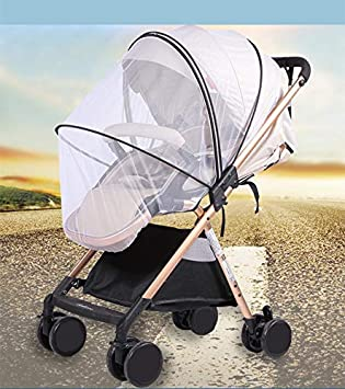 Fits 99/% Baby Stroller Baby Stroller Sun Shade Mosquito Net 2-in-1,Zippered Infant Insect Bug Netting Cover Awning Waterproof and Windproof Anti-UV Umbrella Canopy Universal Fit for Stroller