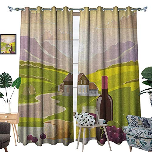 Warm Family Winery Window Curtain Fabric Wine Cheese Bread with Mountain Landscape in French Rurals Pastoral Scenery Drapes for Living Room W84 x L96 Green Purple Cream